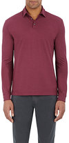 Zanone MEN'S JERSEY LONG-SLEEVE POLO SHIRT-BURGUNDY SIZE XL