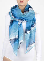 Printed Village Wave Themed Scarf