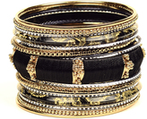 Amrita Singh Black & Goldtone Mina Bangle Set