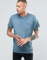 Solid Crew Neck T-shirt In Oil Wash With Pocket