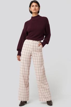 NA-KD Big Check Wide Leg Suit Pants Beige