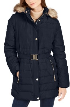 Michael Kors Michael Faux Fur Trim Hooded Down Coat, Created for Macy's