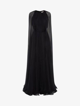 Alexander McQueen Cape Sleeve Chiffon Evening Dress