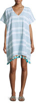 Seafolly Spaced-Stripe Caftan Coverup, Blue
