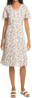 Nordstrom Signature Flutter Sleeve Stretch Silk Dress