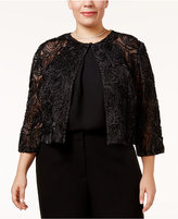 R & M Richards Plus Size Glitter Rosette Illusion Shrug