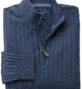 Charles Tyrwhitt Indigo cotton cashmere cable zip neck jumper