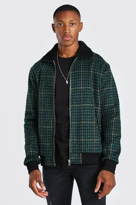boohoo Mens Green Check Borg Collar Unlined Bomber Jacket, Green