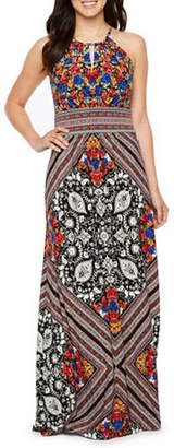 LONDON STYLE Sleeveless Geometric Maxi Dress