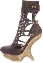 Alexander McQueen Metallic Sugar Honeycomb Ankle Boots