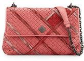 Bottega Veneta Olimpia Intrecciato Snakeskin & Leather Shoulder Bag, Pink