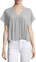 Romeo & Juliet Couture V-Neck Pleated Top, Gray