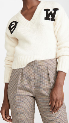 Off-White Logo Intarsia V Neck Sweater