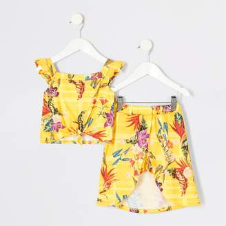 River Island Mini girls Yellow print cami top outfit