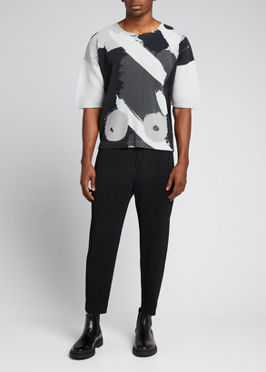 Homme Plissé Issey Miyake Men's Abstract-Print Boxy T-Shirt