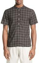 Saturdays NYC Dimitri Windowpane Band Collar Shirt
