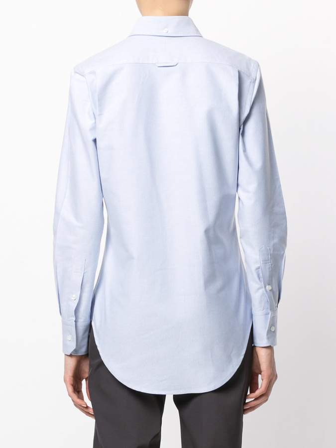 Thom Browne Classic Long Sleeve Button Down Shirt in Light Blue Oxford