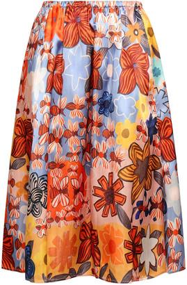 Acne Studios Printed Satin Midi Skirt