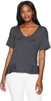 Ellen Tracy Women's Stripe Knit Top W/Flouncy Hem