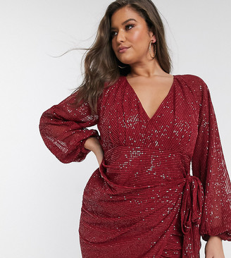 Asos DESIGN Curve mini dress in sequin with deep plunge and drape detail skirt-Red