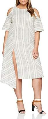 ELVI Women's The Masago Cutout Shoulder Linen-Mix Stripe Dress with Asym Hem,(Size:)