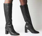 Office Kingdom Block Heel Knee Boots Black Leather