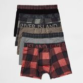 River Island MensRed check trunks pack