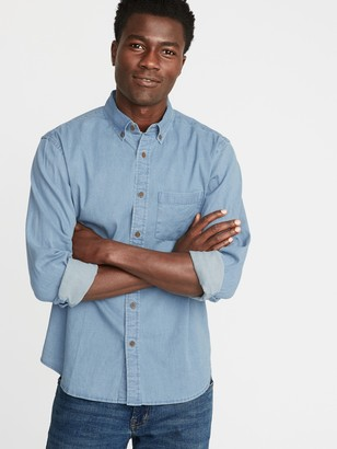 Old Navy Regular-Fit Built-In Flex Chambray Everyday Shirt for Men