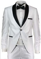 AugusWu One Button Groom Groomsman Mens Suits Slim Fit Tuxedos 2 Piece Sets M