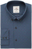 Ben Sherman Men's Slim-Fit Navy & Wine Clip Spot Check Dress Shirt