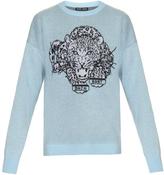 Baja East Leopard intarsia-knit cashmere sweater