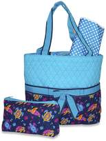 Ever Moda Sea Turtle Blue Quilted Diaper Bag with Change Pad