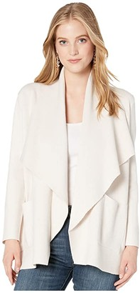 Cupcakes And Cashmere Marta Soft Sweater Knit Drape Front Jacket (Oatmeal) Women's Sweater
