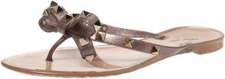 Valentino Beige/Light Purple Jelly Rockstud Bow Thong Flats Size 39