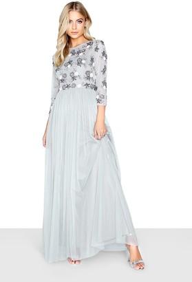 Little Mistress Amanda Grey Embellished Floral Maxi Dress