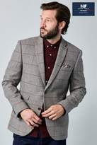 Next Mens Taupe Slim Fit Check Jacket - Natural