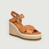 Clergerie Camel Leather Noemie Platform Wedge Sandals - 36