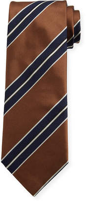 Brioni Men's Silk Double-Framed Stripe Tie