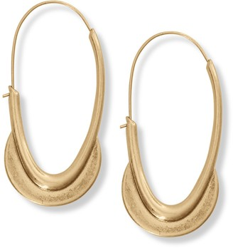 Lucky Brand Brushed Crescent Detailed Hoop Earrings