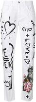 Dolce & Gabbana doodle print straight leg jeans - women - Cotton/Spandex/Elastane - 38