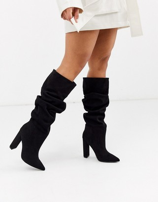 Steve Madden Slouch heeled knee high boots in black