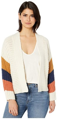BB Dakota Block Roll Soft Acrylic Color-Block Cardigan (Ivory) Women's Clothing