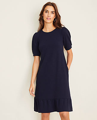Ann Taylor Puff Sleeve Pocket Shift Dress