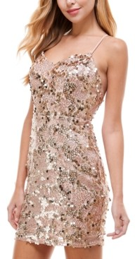 City Studios Juniors' Plunge-Neck Sequined Dress