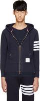 Thom Browne Navy Zip-Up Hoodie