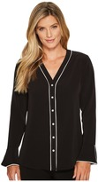 Calvin Klein Flare Sleeve Blouse with Piping Women's Blouse