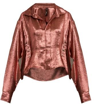 Paula Knorr - Big Long-sleeved Silk-blend Lame Shirt - Womens - Gold
