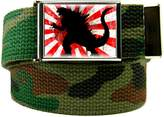 Build A Belt Rising Sun Godzilla Men's Flip Top Bottle Opener Belt Buckle with Canvas Web Belt XXX-Large