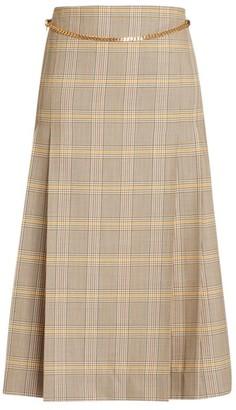 Victoria Beckham Chain Detail Plaid Wool Midi Skirt