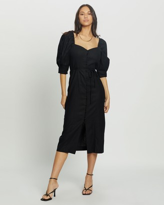 Topshop Women's Black Midi Dresses - Linen Blend Puff Sleeve Midi Dress - Size 8 at The Iconic